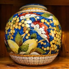 The intricate details of this Tuscan masterpiece never fail to command attention. A stunning large vase, handmade in Italy and sold at Italian Pottery Outlet in Santa Barbara, CA. We import ceramics from about 30 factories in Italy.