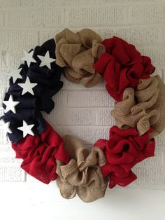 Patriotic Memorial Day 4th of July Burlap Wreath by MadeByMeg34