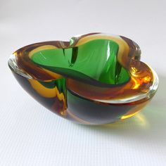 Murano double sommerso geode bowl/dish/ashtray, vintage retro 60's/70's art glass. Heavy 1.3kg, green/amber/gold cased. Mandruzzato/Italy. by CocoCollectables on Etsy