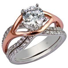 14k white & rose gold diamond engagement ring & diamond wedding band #ModernByMegeanContemporaryJewelry