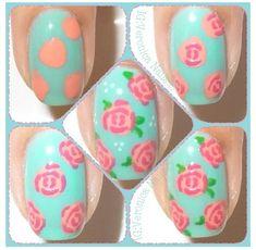 Rose nail art tutorial
