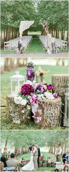 Rustic outdoor wedding ceremony, purple florals, tree stumps, white lanterns, arbor draped in lace, white roses // Carla Gates Photography