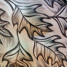 Oak #leaves #carved into #handmade #ceramic #tiles at Natalie Blake Studios