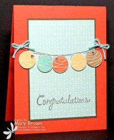 Mary's easy card uses Happy Congratulations, Retro Fresh dsp, and more. All supplies from Stampin' Up!