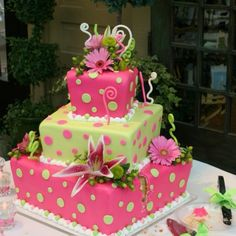 Beautiful cake idea for wedding or shower.   Pink and Green Wedding