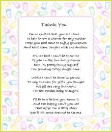 Printable Baby Shower Thank You Poems, From Twins Thank Yous Thru To Thank  Yous From Baby And Neutral Baby Shower Thank You Wording Too.