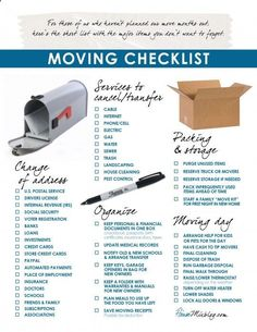 Moving house checklist: Change of address, services to stop, organizing