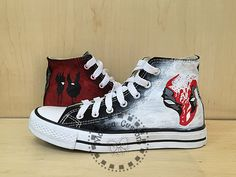 Deadpool shoesCustom ConverseHand painted by MonicaCustomShop