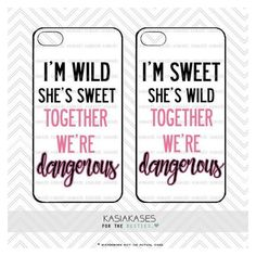 Sweet and Wild bff Case / Dangerous Together Best Friends Cute Trendy iPhone 6 Plus, Samsung Set of 2 Cases. Where is my new iPhone? I don't see it anywhere in the house! Oh wait, it's still at the store! Thanks mom! Bff Iphone Cases, Bff Cases, Funny Phone Cases, Ipod Cases, Diy Phone Case, Iphone Phone Cases, Best Friend Cases, Friends Phone Case, Bff Quotes