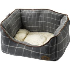 Petface Grey Window Pane Check Square Dog Bed (Various Sizes)