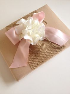 Rustic Pink Wedding Guest Book With Burlap - check out our other great wedding items in our Etsy shop!