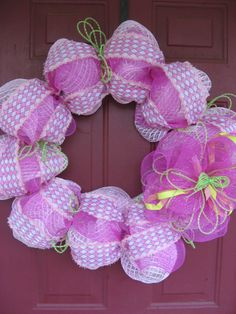 Hey, I found this really awesome Etsy listing at https://www.etsy.com/listing/186324171/deco-mesh-spring-wreath-pink-and-green