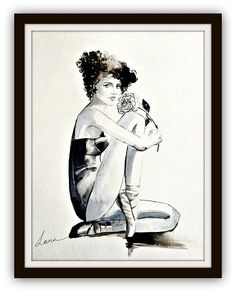 Fashion Watercolor Painting Noir Collection Figure