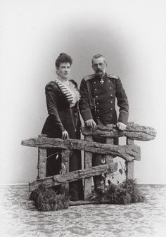 Grand Duke Vladimir Alexandrovich of Russia (22 Apr 1847 – 17 Feb 1909) with his wife Grand Duchess Maria Pavlovna the Elder. He was a son of  Tsar Alexander II of Russia and was a brother of Tsar Alexander III of  Russia and the Senior Grand Duke of the House of Romanov during the  reign of his nephew, Tsar Nicholas II. He  died after a stroke in 1909.