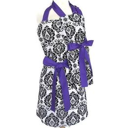 etsy mommy and me aprons - purple and black set