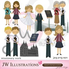 Clip Art Pictures, Missionary Work Cute Digital Clipart for Card Design, Scrapbooking, and Web Design Missionary Mom, Sister Missionaries, Caleb Y Sofia, Web Design, Clip Art Pictures, Singing Time, Camping Crafts, Character Illustration, Patch