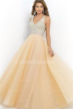 Ball Gown V-neck Floor-length Tulle Prom Dress