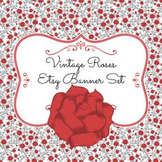Vintage Roses Etsy Banner Set by CreativelyCleverLogo on Etsy