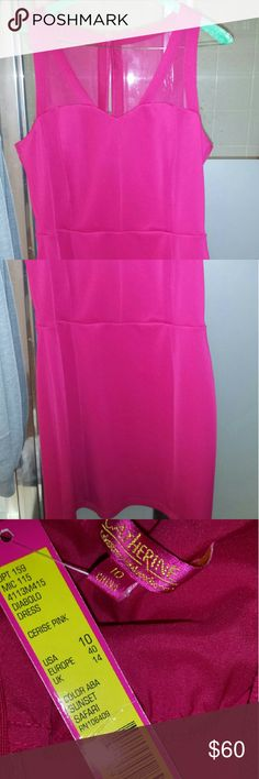 Sexy Hot pink dress Nwt Hot pink dress, with shear detail on shoulder. Has been dried cleaned. Needs a new zipper, bought as is. Now the dress doesn't fit. Can be worn for a wedding, high school reunion.. Catherine Malandrino Dresses Wedding