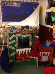 EYFS santa's workshop role play area. Huge potential for framework coverage!! Toy workshop - using tools / construction  Wrapping station - using one handed tools / manipulating materials / gross motor skills Label writing - using phonics Quality control - naughty and nice list - reading