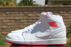 """""""White & Infrared 23"""" Air Jordan 1 Mid (Detailed Pictures)"""