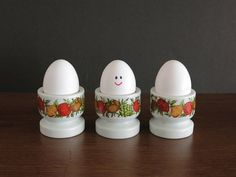 These could have saved Humpty Dumpty! Ceramic Spice of Life Egg Cups or Egg Stands - Pyrex Gemco Corelle Corning Compatible at Eight Mile Vintage on Etsy