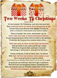 Two Weeks til Christmas Poem by Steve Lucas - Poster by F.M. Light and Sons | Western Wear in Steamboat Springs, CO for Over 100 Years