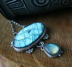 A Teardrop of Light Necklace----------Labradorite Sterling Silver Necklace