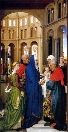 **Altar de Roger Van der Weyden, los colores no se mezclan. Se utilizaron crudos: ultramar, malaquita, bermellón, albayalde.. -23