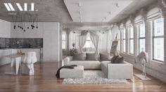 Salon en gris par Wall Interior