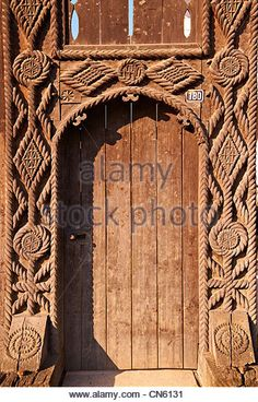 century traditional Iza Valley farm house carved wooden folk art gates, The Village museum near Sighlet, Maramures, - Stock Photo Vernacular Architecture, Wooden House, Farm House, Gates, Folk Art, 19th Century, Carving, Museum, Houses