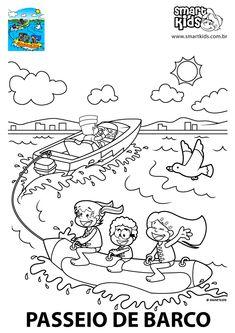 Colorir Desenho Passeio de Barco - Desenhos para colorir - Smartkids Christmas Tree Poster, Diagram, Math, Boating, Print Coloring Pages, Math Resources, Mathematics