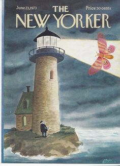 COVER ONLY The  New Yorker magazine ~ June 23, 1973 ~ ADDAMS ~Lighthouse Moth