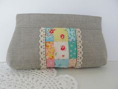Linen and Patchwork inset zip pouch by bluebirdluxe, via Flickr