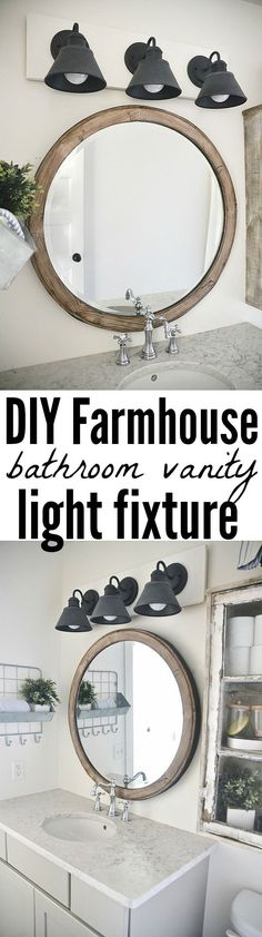 Diy Farmhouse Bathroom Vanity Light Fixture See How To Make This Super Simple Farmhouse Bathroom Vanity Light Fixture On A Budget It 39 S Super Easy To Make Amp Also Super Affordable Farmhouse Lighting, Barn Lighting, Lighting Ideas, Industrial Bathroom Lighting, Garage Lighting, Ikea Bathroom Lighting, Industrial Vanity Light, Vintage Lighting, Outdoor Lighting