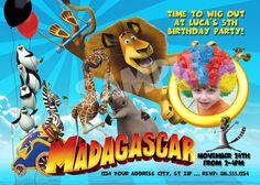 Madagascar Invitation - Printable MADAGASCAR 3 Party Invitations - ADD Wig