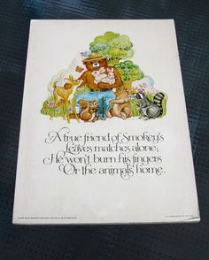 Smokey the Bear Government Ad Boards, Vintage Smokey the Bear Illustrations.