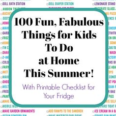 100 Fun Things for Kids to Do at Home This Summer (with Printable Checklist) : 100 Fabulous, Fun Activities for Kids to Do At Home this summer. Crafts, science, sensory play, recipes and more to keep kids entertained and learning all summer long. Science Activities For Toddlers, Summer Activities For Kids, Writing Activities, Homemade Bubble Recipe, Homemade Bubbles, Kids Things To Do, Fun Things, Summer Things, Happy Hooligans