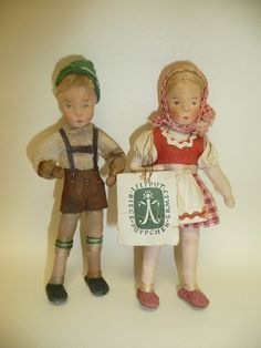 Vintage Pair Bavarian Cloth Doll House Dolls Boy & Girl by Erna Meyer, Germany