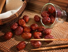 Chinese dates, also known as Jujubes, are neutral and sweet. Jujubes strengthen the spleen, nourish the body, lubricates the lungs, stops cough, and relieves diarrhea. Jujubes are also great for anemia and night sweats! Use dates to boil a tea and enjoy. Reference: The Tao of nutrition, Maoshing Ni - Cathy McNease - Sevenstar, Communications - 1987