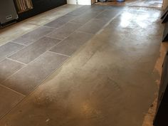 Getting the floor prepared for LVT Luxury Vinyl Flooring, Luxury Vinyl Tile, Fired Earth, Vinyl Tiles, Stone Tiles, Tile Floor, Floors Of Stone, Terracotta, Tile Flooring