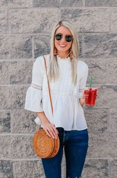 Flowy tops outfit summer | White boho blouse | Boho spring top | Statement earrings outfit | Straw bag outfit | Flowy tops outfit summer jeans | Lifestyle blogger | Fashion blogger | Canadian blogger | Prada and Pearls #wiwt #ootd #outfitoftheday