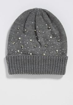 knit hat with faux pearls and rhinestones | maurices