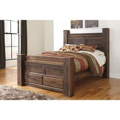 Signature Design by Ashley Quinden Dark Brown Queen-size Storage Bed - Overstock™ Shopping - Great Deals on Signature Design by Ashley Beds