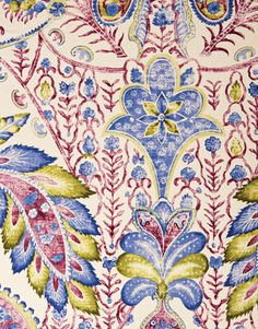 """This is a printed cotton that works on walls, windows, and furniture,"" says Brunschwig & Fils designer director Donna May Woods. While the design of TAMERLANE (shown here in Canton Blue) dates from the 1600s, ""Indiennes cross over into the modern. They have so much personality -- they're fanciful and often witty, and look brilliant in contemporary or traditional spaces.""   - HouseBeautiful.com"