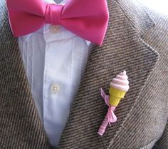 www.weddbook.com everything about wedding ♥ Unique Boutonniere for Groom | Damat Yaka Cicegi #pink #boutonniere #icecream
