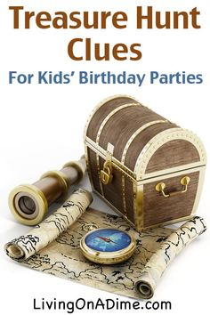 How to Host a Treasure Hunt for a Kids' Birthday Party - Living on a Dime To Grow Rich - How to Host a Treasure Hunt for a Kids' Birthday Party – Living on a Dime To Grow Rich Treasure Hunt Clues for Kids Birthday Parties Treasure Hunt Birthday, Scavenger Hunt Birthday, Pirate Birthday, Birthday Party Games, 4th Birthday Parties, Mermaid Birthday, Boy Birthday, Scavenger Hunts, Pirate Theme