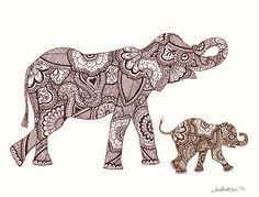 Items similar to Mom and baby - Patterned Elephants on Etsy Buddha Elephant, Buddha Tattoos, 3 Arts, Baby Patterns, Mom And Baby, Animal Drawings, Small Tattoos, Coloring Books, Moose Art