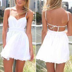 White Mini Backless Dress, super cute! #MiniDress #BacklessMini #BacklessDress #SummerDress #Zaful #OnlineShopping #Fashion #FreshFashion