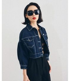 #DarkBlue #Short #DenimJacket £20.99 @ ShanghaiTrends.co.uk  /  http://shanghaitrends.co.uk/dark-blue-short-denim-jacket